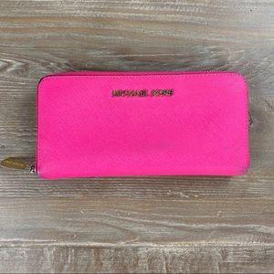 Michael Kors Hot Pink Long ZIP Wallet